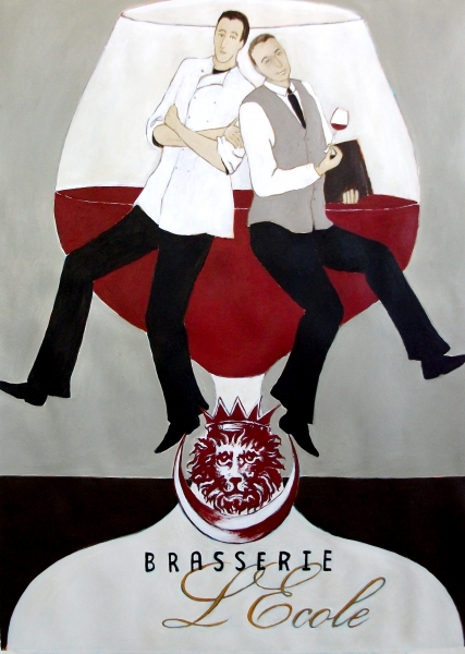 Brasserie Poster Commissioned Painting by Michelle Miller