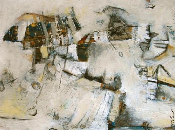 It's Difficult to Fly with Stones Abstract Painting by Michelle Miller